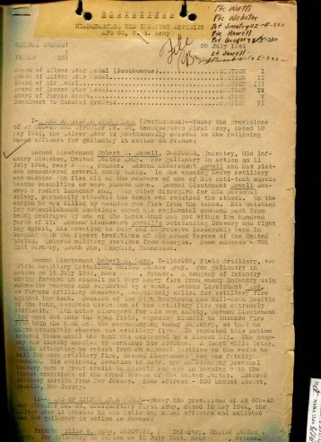 83rd Infantry Division General Orders #18, 30 July 1944
