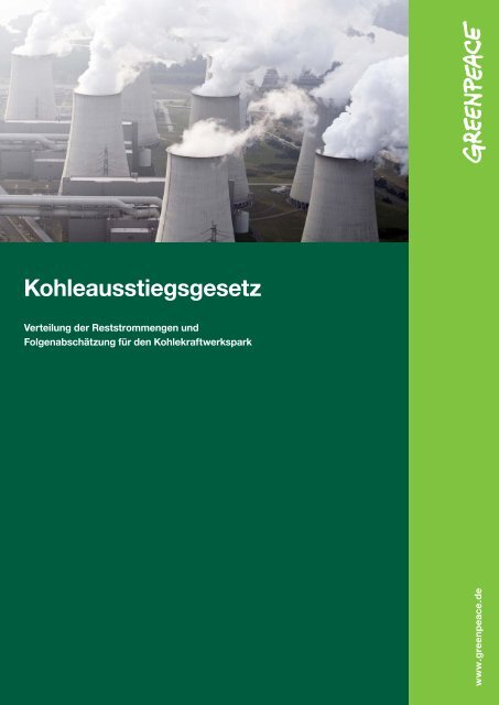 Abschaltplan für Kohlekraftwerke - Greenpeace