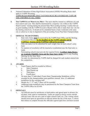 Section 195 Wrestling Rules - tapps
