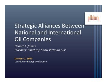 Strategic Alliances Between National and International Oil Companies