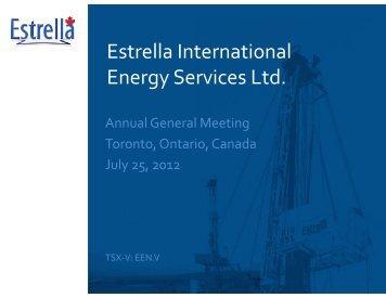 Operations - Estrella International Energy Services Ltd.