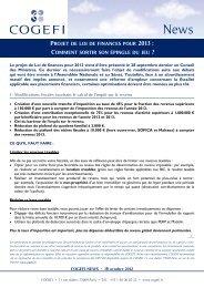 projet de loi de finances pour 2013 - Cogefi
