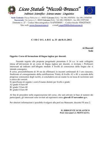 Corso di formazione di lingua inglese per docenti - Braucci - Caivano