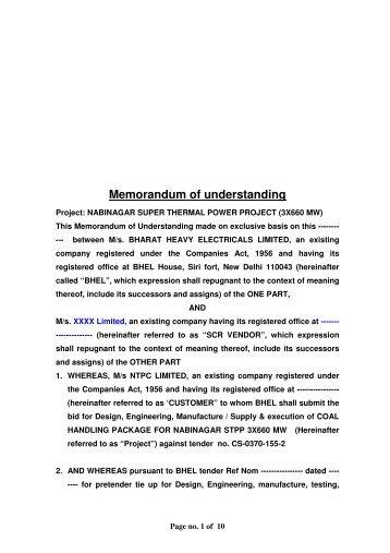 Memorandum of understanding - BHEL - Industrial Systems Group