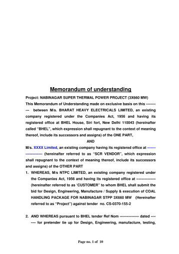 Memorandum of understanding - BHEL - Industrial Systems Group