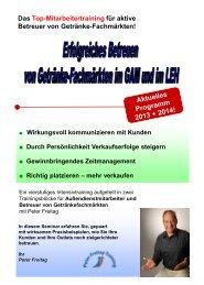 Mitarbeitertraining für aktive Betreuer von Getränke ... - Peter Freitag
