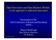 Open Innovation and Open Business Models - Conference of ...