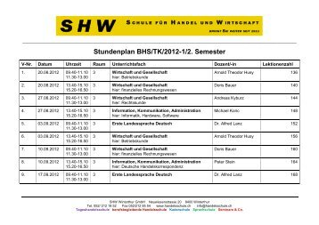 Stundenplan BHS/TK/2012-1/2. Semester - SHW