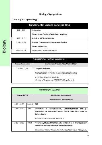 Biology Symposium - UPM - Universiti Putra Malaysia