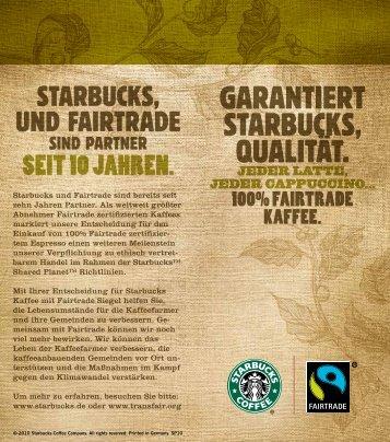 GARANTIERT STARBUCKS, QUALITÄT.