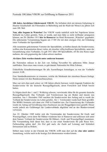Festrede zum 100 Jährigen Jubiläum des VHGW von Paul-Erwin ...
