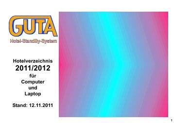 Hotelverzeichnis 2011/2012 für Computer und Laptop ... - Guta GmbH