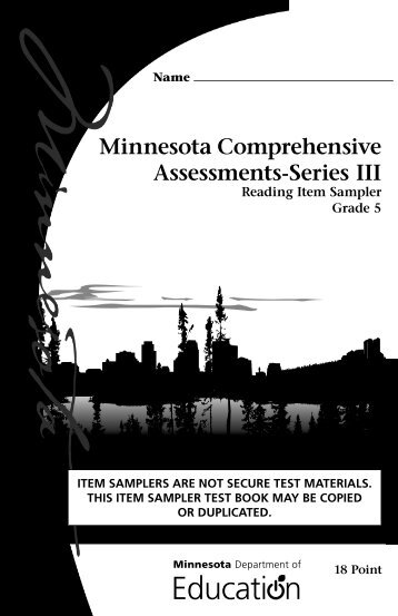Reading MCA Grade 5 Item Sampler - Minnesota Assessments portal