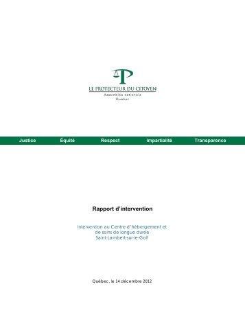 Rapport : Intervention xxx - Le Protecteur du citoyen