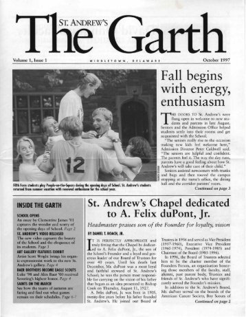 Fall begins with energy, enthusiasm - Saint Andrew's School Archive