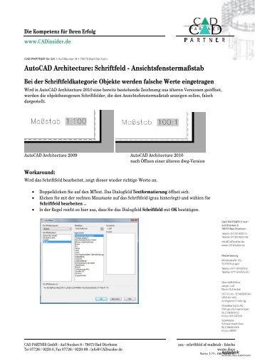 AutoCAD Architecture: Schriftfeld - Ansichtsfenstermaßstab - Bytes ...