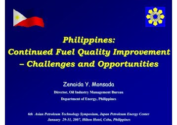 Philippines: Continued Fuel Quality Improvement – Challenges and ...