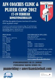 afn coaches clinic & player camp 2012 - Norges Amerikanske ...