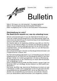 Bulletin Dezember 2009, Nr. 23 - Über die AGGP