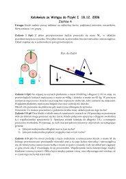 Kolokwium ze Wstępu do Fizyki I 18.12. 2006 Zestaw A φ
