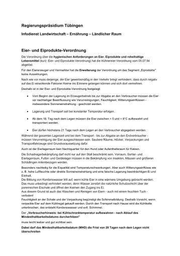Regierungspräsidium Tübingen Eier- und Eiprodukte-Verordnung