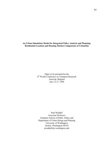 D3 An Urban Simulation Model for Integrated Policy Analysis and ...