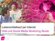 Lebensmittelkauf per Internet Web und Social Media Monitoring Studie