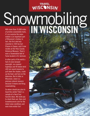Snowmobiling - Wisconsin Department of Tourism