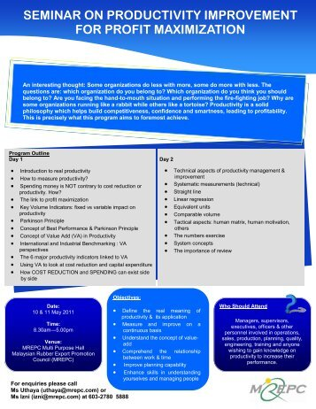 seminar on productivity improvement for profit ... - Mrepc.com