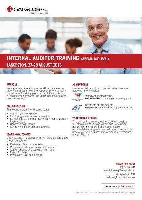 INTERNAL AUDITOR TRAINING (SPECIALIST LEVEL) - SAI Global