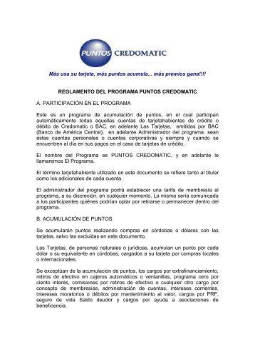 Reglamento del programa puntos Credomatic