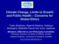 Climate Change, Limits to Growth and Public Health - Colin Soskolne