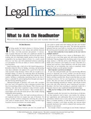 What to Ask the Headhunter - Legal Recruiters