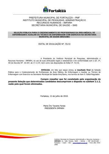 edital de divulgação resultado final - SAMU - SAMU Fortaleza - ce