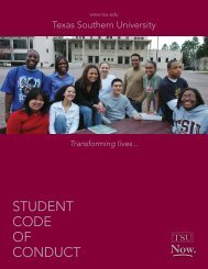 Code of Conduct 2010-2011 - Texas Southern University