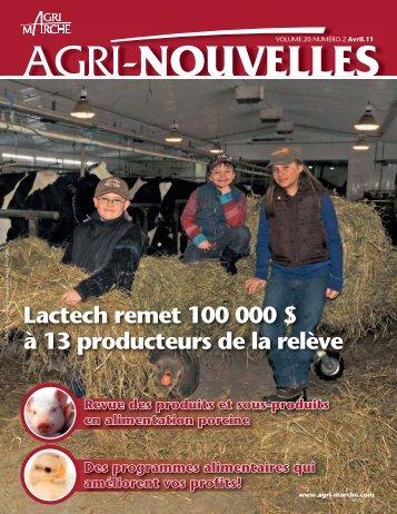 Lactech remet 100 000 $ à 13 producteurs de la relève - Agri-Marché