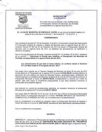República de Colombia Departamento de Sucre ... - Sincelejo