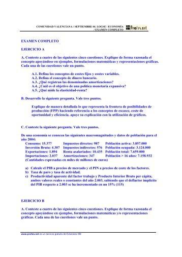 EXAMEN COMPLETO EJERCICIO A A. Conteste a ... - Profes.net