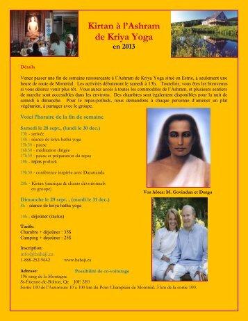 Kirtan à l'Ashram de Kriya Yoga en 2013 - Babaji's Kriya Yoga