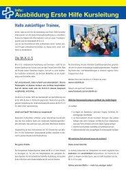 Info-Ausbildung Erste Hilfe Kursleitung.indd - Erste Hilfe Kurs bei ...