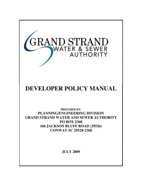 Developer Policy Manual Grand Strand Water And Sewer Authority