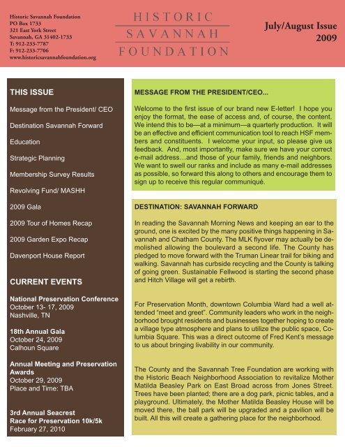 July/August Issue 2009 - Historic Savannah Foundation