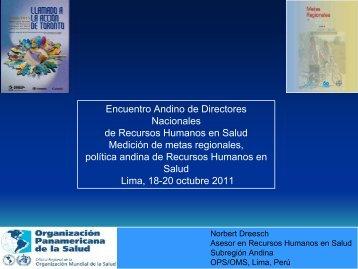 Medición de metas regionales, política andina de Recursos ...