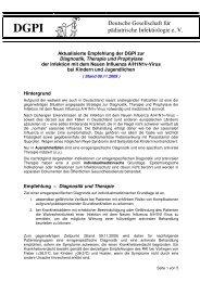 Empfehlung zur Diagnostik, Therapie und Prophylaxe der Infektion ...