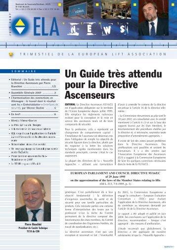 Un Guide très attendu pour la Directive Ascenseurs - ELA European ...