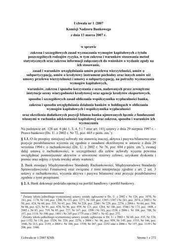Uchwała nr 1 /2007 Komisji Nadzoru Bankowego z dnia 13 marca ...