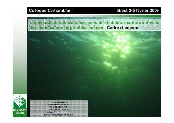 L'amélioration des connaissances des habitats marins au ... - Ifremer