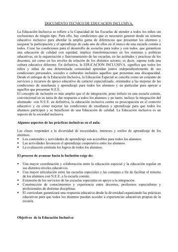 DOCUMENTO TECNICO DE EDUCACION INCLUSIVA