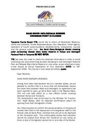 IS NOT OPEN. - Tanzania Tourist Board