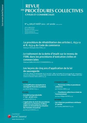 PROCÉDURES COLLECTIVES REVUE - LexisNexis